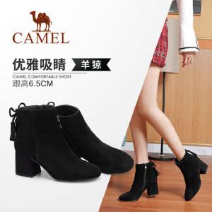 Camel/骆驼女鞋 2018冬季新品 时尚优雅蝴蝶结流苏粗跟高跟短靴女