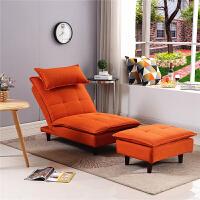 懒人沙发单人卧室多功能折叠靠背椅小户型客厅榻榻米阳台休闲躺椅 桔红色 带脚踏