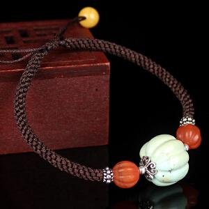 原矿高瓷绿松石手工编织绳手串 直径15mm