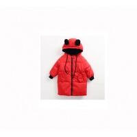 女宝宝棉袄0-1-3岁2婴幼儿童女童棉衣中长款羽绒韩版加厚外套 红色 长款羽绒服 白鸭绒羽绒服