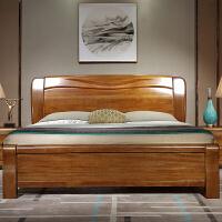 金丝胡桃木实木床1.8米现代简约主卧双人大床中式气压高箱储物床 +2床头柜