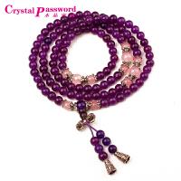 水晶密码CrystalPassWord 天然紫玉髓搭配粉晶藏银108颗佛珠手链-JXYL1Q047