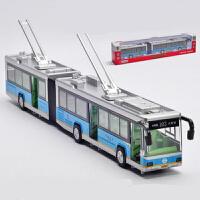 合金公交车巴士模型单双节城市公共汽车儿童玩具车模声光回力双节