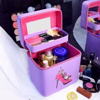双层大容量韩国化妆包可爱小号方品随身便携手提收纳盒简约化妆箱