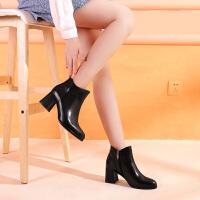 Camel骆驼秋季新款黑色通勤短靴头层牛皮气质靴子女尖头粗高跟女鞋