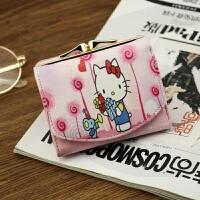 新款2018新款钱包女短款日韩版可爱漫画卡通多卡位零钱包钱夹子手拿包 Hello Kitty-玫红