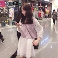 2018082907066922018新款裙子女学生韩版原宿风假两件夏天衣服软妹日系可爱夏网红同款复古同款