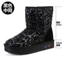 雪地靴女冬季2018新款韩版百搭学生中筒加绒保暖短靴亮片短筒棉鞋 黑色 中筒
