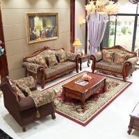 欧式布艺沙发 可拆洗实木别墅整装客厅u型简式小户型123组合 位++位