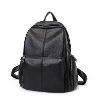 2018新款时尚韩版潮真皮女士双肩包女包简约休闲百搭软皮旅行背包SN5632 黑色