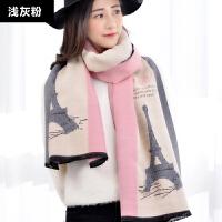 围巾女冬季长款韩版百搭冬天围脖英伦格子加厚两用保暖仿羊绒披肩