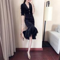 连衣裙秋冬女2018春装新款修身中长款年会小礼服蕾丝鱼尾裙子 图色
