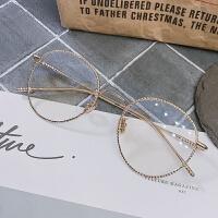 韩版潮女款圆形大脸眼镜架文艺日系小圆框眼镜框复古金属全框