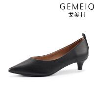戈美其春秋新款单鞋时尚低跟浅口女单鞋休闲小猫跟工作鞋职业女鞋