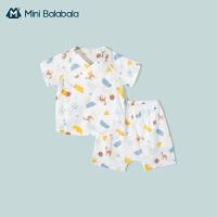 迷你巴拉巴拉新生婴儿儿衣服宝宝套装2021春新款纯棉纱布可爱套装