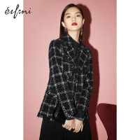 伊芙丽炸街西装外套女2021冬装韩版黑色格子小香风女士小西服