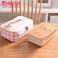 白领公社 学生饭盒 谷物麦元素简约保温分隔便当盒上班族可微波炉加热餐具保鲜盒套装