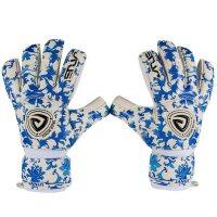 青花瓷图案乳胶守门员手套 户外运动门将护指可拆卸手套 成人足球防护手套