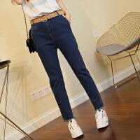 蓝色牛仔裤女18春季新款女裤韩版修身显瘦脚口毛边牛仔长裤休闲裤 深蓝色 M