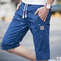 新款男士印花短裤   日系 韩版修身时尚系带裤   青少年运动休闲七分裤  潮裤子