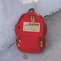 男生双肩包女士韩版休闲帆布背包大容量高中学生书包16寸电脑包潮