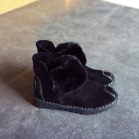 大东靴子女冬季新款棉鞋平底加绒短靴毛毛鞋女短筒百搭学生雪地靴