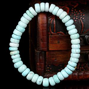 原矿高瓷高蓝绿松石算盘珠手串 直径8mm