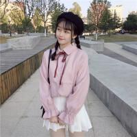 秋冬女装韩版小清新POLO领系带蝴蝶结喇叭袖宽松显瘦衬衣打底衫潮