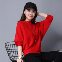 针织衫 女士时尚宽松蝙蝠袖针织衫2020秋冬韩版女式新款长袖毛衣学生潮流上衣