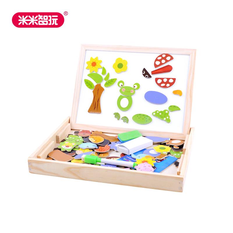 【米米智玩】儿童磁力片动物磁性拼拼乐木制玩具双面画板儿童立体拼图写字黑板积木玩具 益智玩具限时钜惠