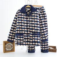 2018082052018新款三层加厚珊瑚绒夹棉睡衣男士冬天加绒棉衣中年爸爸中老年老人套装