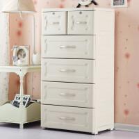 现代简易柜子抽屉式大号欧式抽屉式收纳柜塑料婴儿童衣柜宝宝柜子储物柜整理箱五斗柜