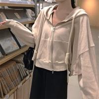 韩版连帽开衫卫衣女春秋装薄款长袖上衣学生短款宽松休闲拉链外套 均码