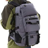 户外背包运动双肩包男女休闲旅行登山包40L 日韩学生书包旅游徒步 灰色 功能款40升
