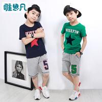 【男童套装】儿童短袖t恤短裤两件套中大童2018新款夏季童装