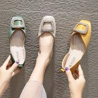 韩版百搭单鞋女士平底浅口瓢鞋 新款方头鞋子女温柔风奶奶鞋牛油果绿鞋子