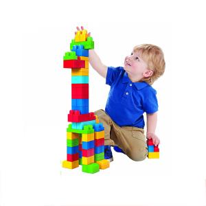费雪美高积木mega bloks大袋装80片大颗粒拼装插儿童玩具1-2周岁