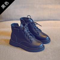 2018秋冬新款女童短靴儿童靴子英伦风男童马丁靴加绒棉靴童鞋
