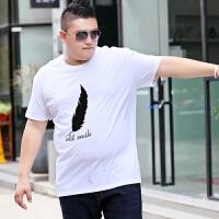 男短袖T恤潮流胖子宽松休闲加大加肥t��背心夏季纯棉打底衫上衣潮 白色 中羽毛