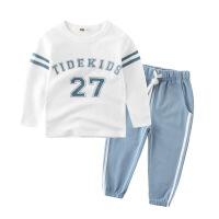 男童运动套装全棉 18新春款儿童套装宝宝纯棉长袖T恤运动裤两件套 水蓝色 08 运动套装