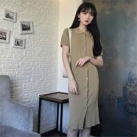 时尚polo领连衣裙夏季显瘦单排多扣针织衬衫长裙ins超火的开衫裙