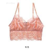 欧美性感蕾丝无钢圈无海绵背心式文胸内衣胸罩 粉色