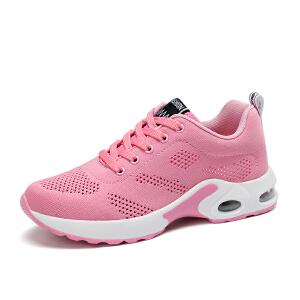 新款网面透气跑鞋女飞织运动鞋女秋季跑步鞋单鞋百搭休闲女鞋