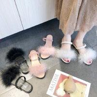 平底女士凉鞋仙女风 户外百搭两穿配长裙子的毛毛鞋