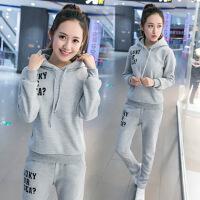 2018新款冬季休闲服时尚冬天套装女秋学生装跑步卫衣女两件套 6958灰色值套装上衣+裤子