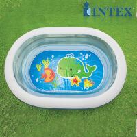 INTEX 透明椭圆充气水池 儿童游泳池 球池57482