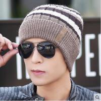 男士毛线帽网红同款时尚加厚加绒保暖针织帽 韩国双层户外运动新品套头帽子