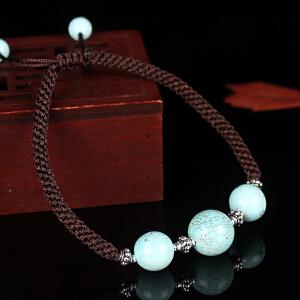 原矿高瓷绿松石手工编织绳手串   直径11mm