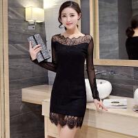 春秋季新款韩版显瘦蕾丝打底衫上衣网纱中长款包臀长袖T恤女外穿