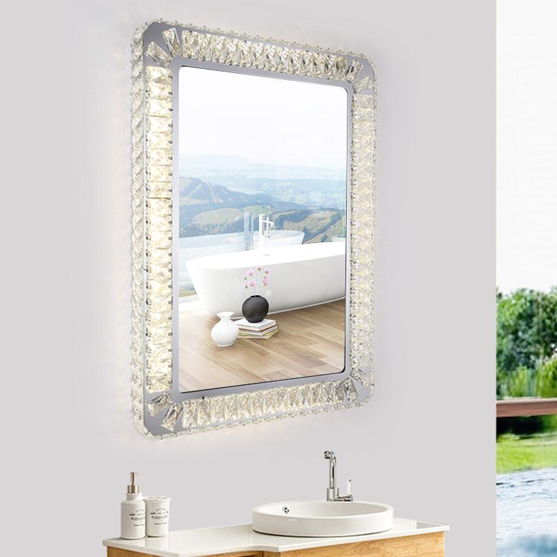 方形LED水晶灯镜浴室化妆镜卫生间带灯镜子防雾开关卫浴镜壁挂  其他 本店部分商品为定金价格,选项非实物图,下单前联系确认及大件商品修改运费,否则本店